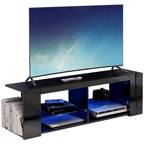Modern Luxe ® TV Board Lowboard Fernsehschrank Fernsehtisch TV Regal schwarz Fronten in Hochglanz mit led Beleuchtung (Schwar