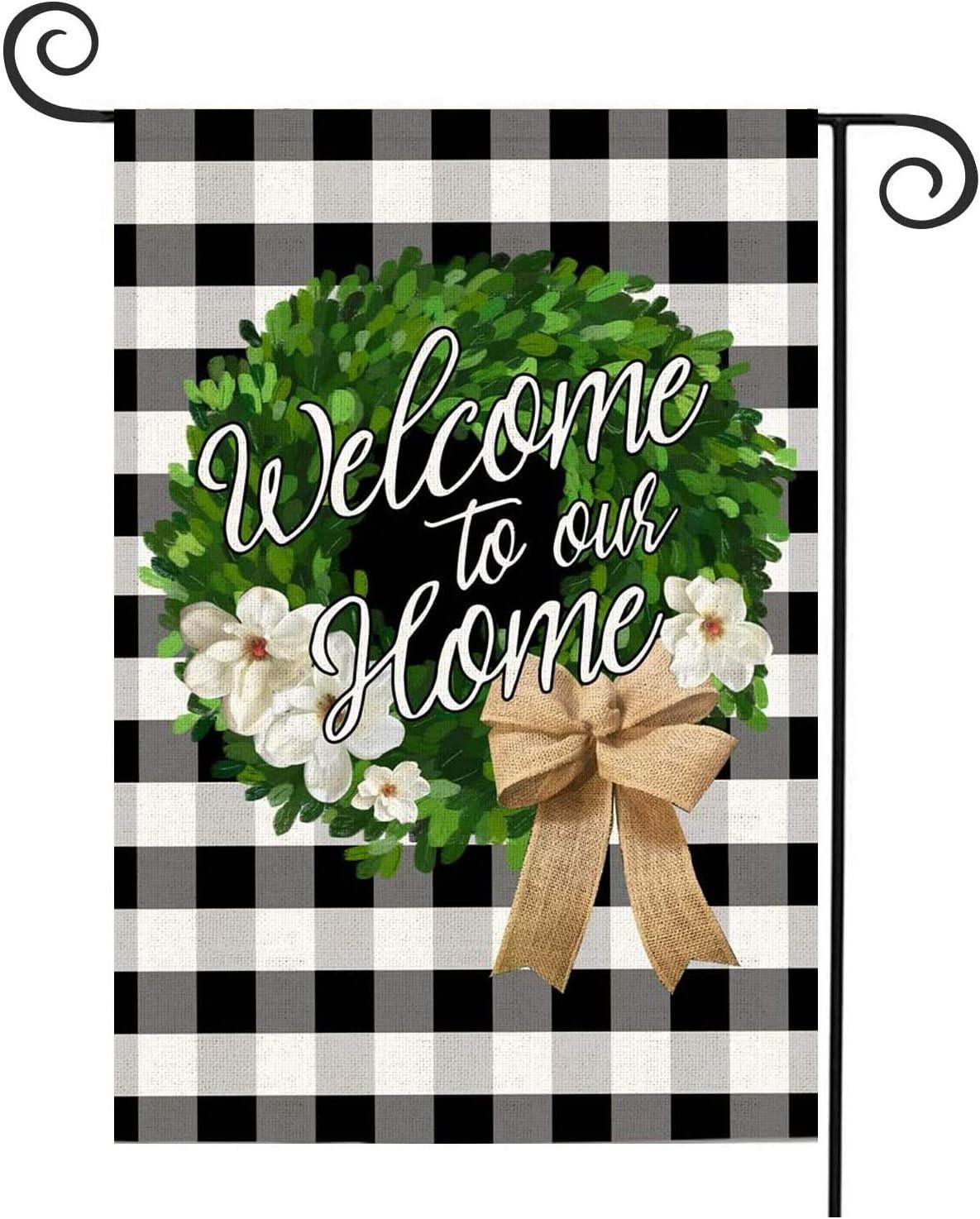YAZEN Welcome Garden Flag Leaves Wreath Small Garden Flag Stripe Vertical Double Sided 12.5 x 18 Inch Farmhouse Fall Burlap Yard Outdoor Décor
