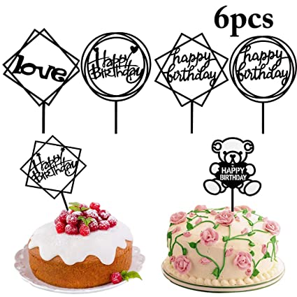 Buy Funpa 6PCS Cake Topper Assorted Types Happy Birthday Cupcake Pick Online At Low Prices In India