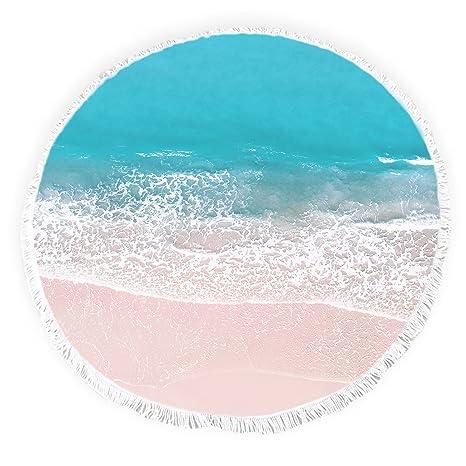Yun Nist Toallas de playa redondas con borlas océano playa paisaje flecos círculo grueso gitano picnic