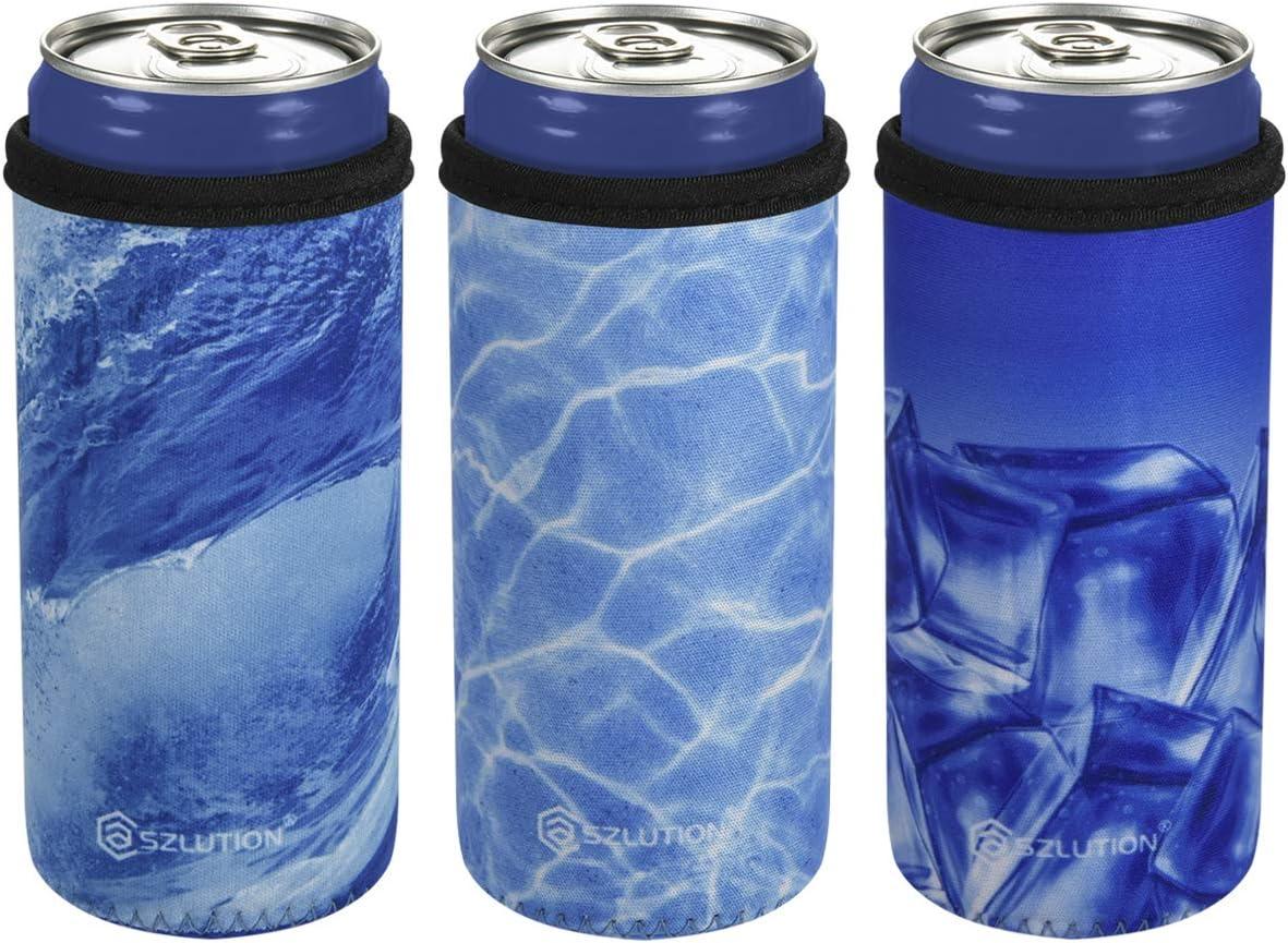 CASE STAR 12 Ounce Slim Can Sleeves Insulators Slim Can Skinny Coolers Covers 12 Ounce Beer Bottle Sleeves Slim Can Holder-Ocean Blue Set
