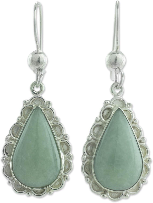 NOVICA Jade .925 Sterling Silver Dangle Earrings 'Apple Green Blossoming Dew'