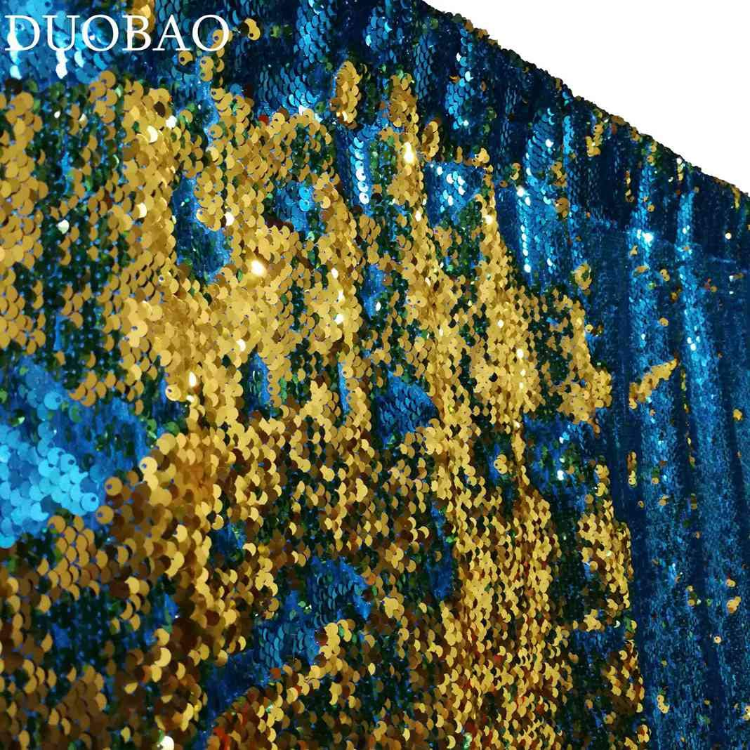 DUOBAO Sequin Backdrop 20FTx10FT Turquoise to Gold Glitter Backdrop Curtain Mermaid Reversible Sequin Curtains Beautiful Background