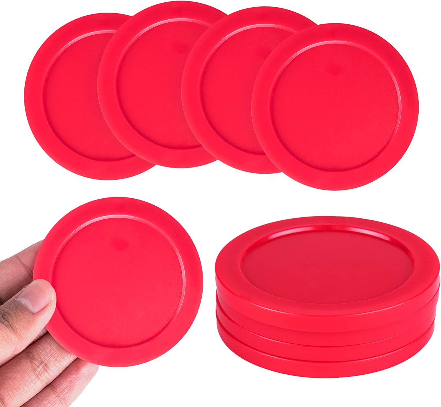 2 Strikers, 4 Pucks POLARHAWK Light Weight Air Hockey Pushers Red Replacement Pucks Red Air Hockey Pucks Great Goal Handles Paddles Replacement Accessories for Game Tables
