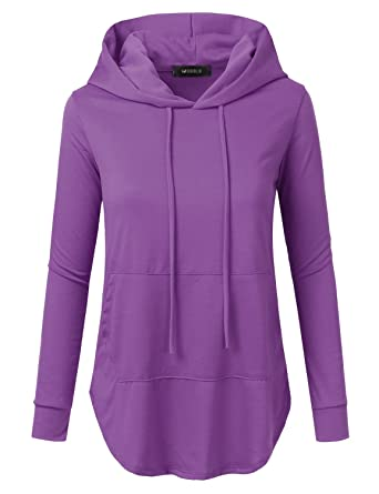 7411af7cd444b Doublju Loose Fit Pullover Hoodie with Kangaroo Pocket for Womens with Plus  Size Lightpurple 1X