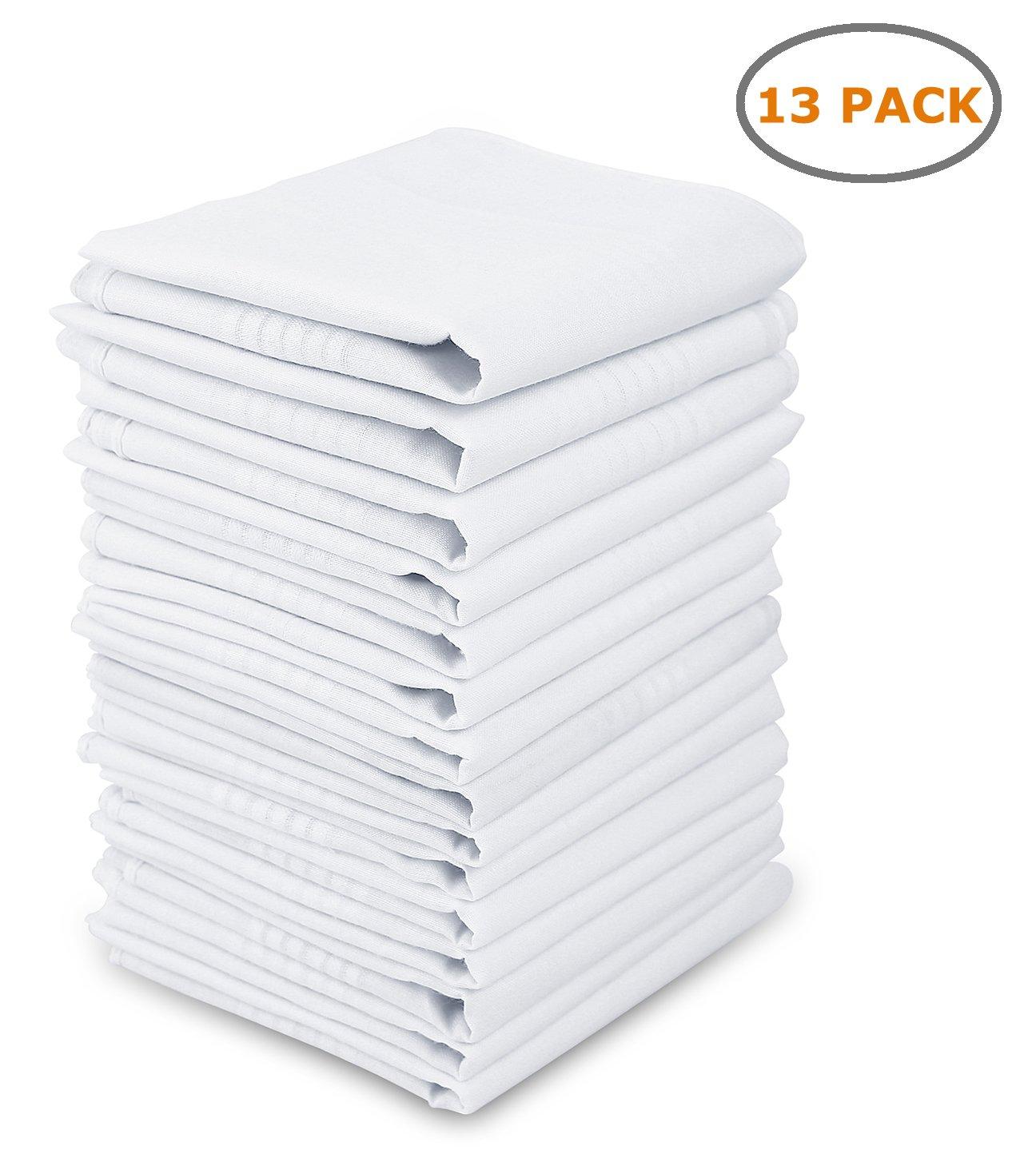 Ohuhu Cotton Handkerchiefs Solid White Lightweight 13 Pack