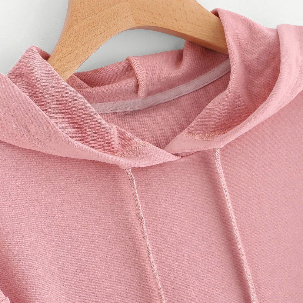 TWGONE Pink Hoodie for Girls Womens Long Sleeve Heart Sweatshirt Jumper Hooded Pullover Tops Blouse