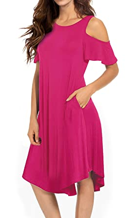 530e40e04490 VERABENDI Women s Casual Cold Shoulder Midi Dress Short Sleeve Swing Dress  with Pockets Rose