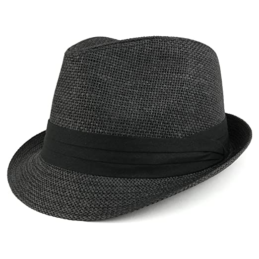 1a29b706561e83 Colorful Straw Fedora Hat with Black Pleated Band - BLACK at Amazon ...