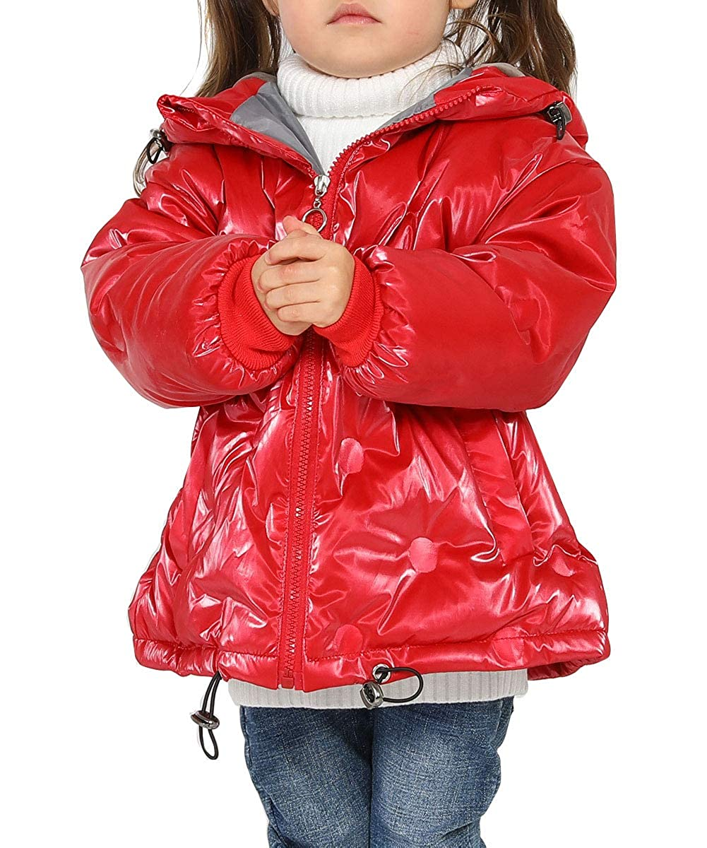 Happy Cherry Kids Down Jacket Hooded Zipper Up Long Sleeve Glossy
