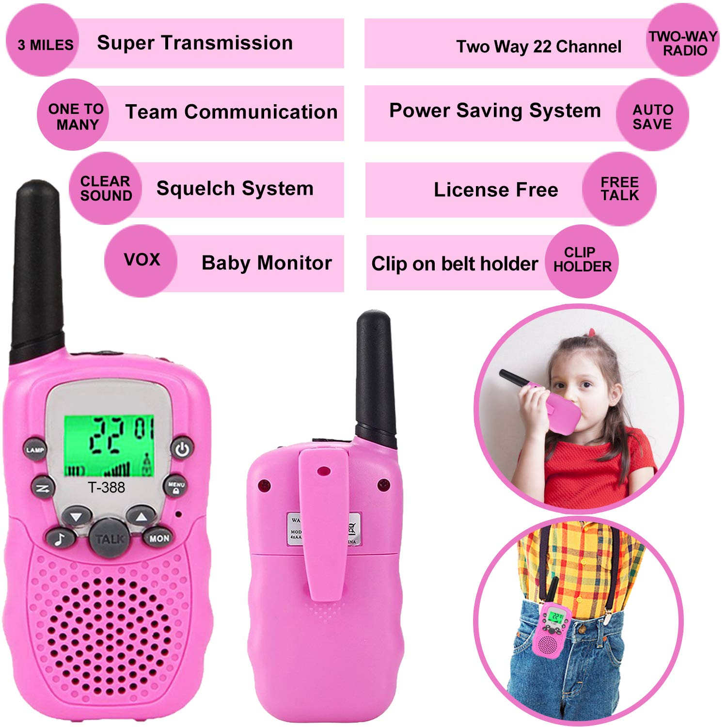 Kids Walkie Talkies Toys for 3-12 Year Old Boys Girls Toddlers, 4 Pack Walkie Talkies with 4 Earphones, 3 Mile Range 22 Channel Flashlight Two-Way Radio, Accessory for Outdoor Adventure Camping Game by iGeeKid (Image #2)