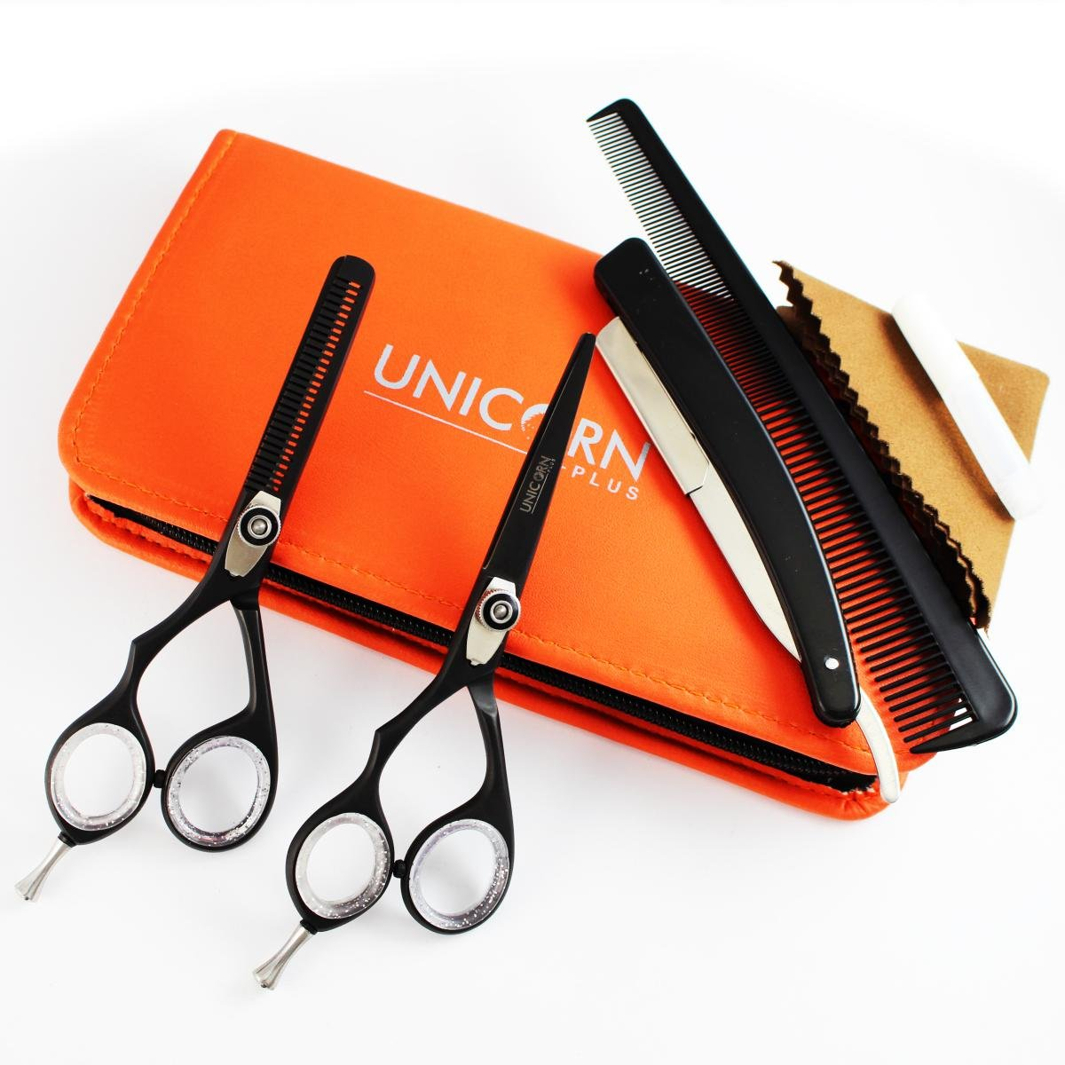 PREMIUM Quality Brand New Left -Handed 2 x Professional Hair Cutting & Thinning Scissors Shears Hairdressing Set 5.5 Inch, Deep Black + FREE Shipping and Online Tracking Unicorn Plus pr-1052-uc