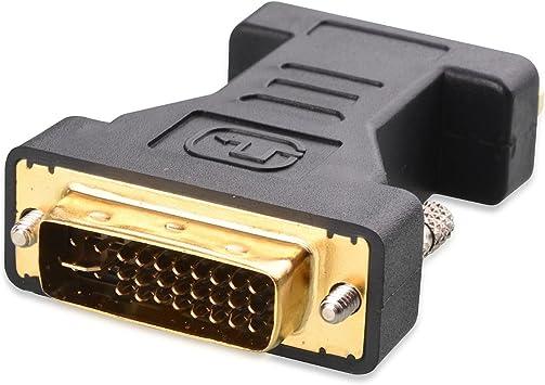 Adaptador DVI a VGA activo, 1080p macho DVI-D 24 + 5 Vedio Cable convertidor VGA a hembra DVI para dispositivos, PC, DVD, monitor, televisor y proyector: Amazon.es: Electrónica