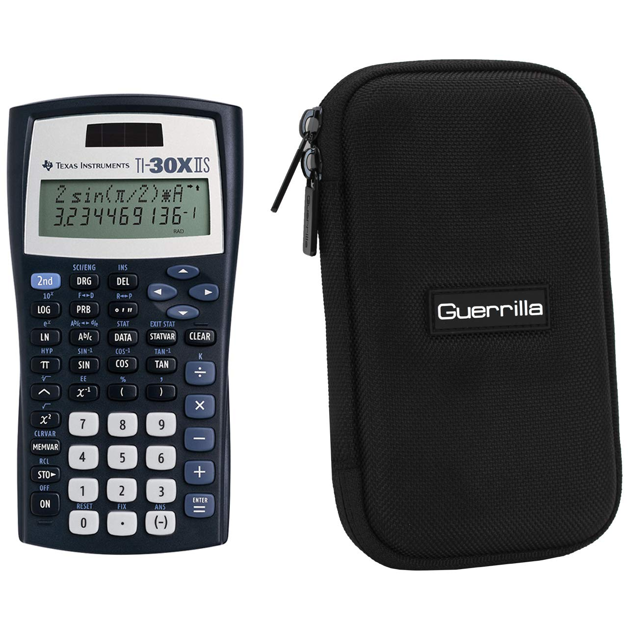 Texas Instruments TI-30XIIS Scientific Calculator + Guerrilla Zipper Case, for Extra Protection & Easy Storing (Black) by Texas Instruments