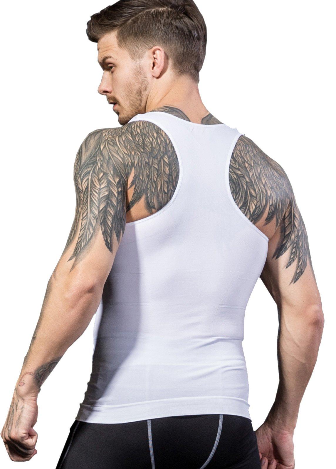 BXUSOZL Men's Slimming Body Shaper Compression Vest Shirt,Y-Back Slim Fit Seamless Undershirt Shapewear,Abdomen Slim (White, L)