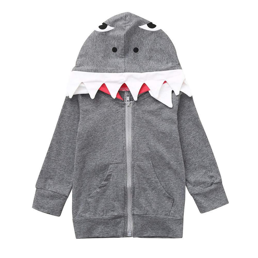 YanHoo Ropa de niños Chaqueta con Capucha de Invierno de Dibujos Animados estéreo de Manga Larga para niños Abrigo de tiburón Chaqueta con Capucha Ropa de ...