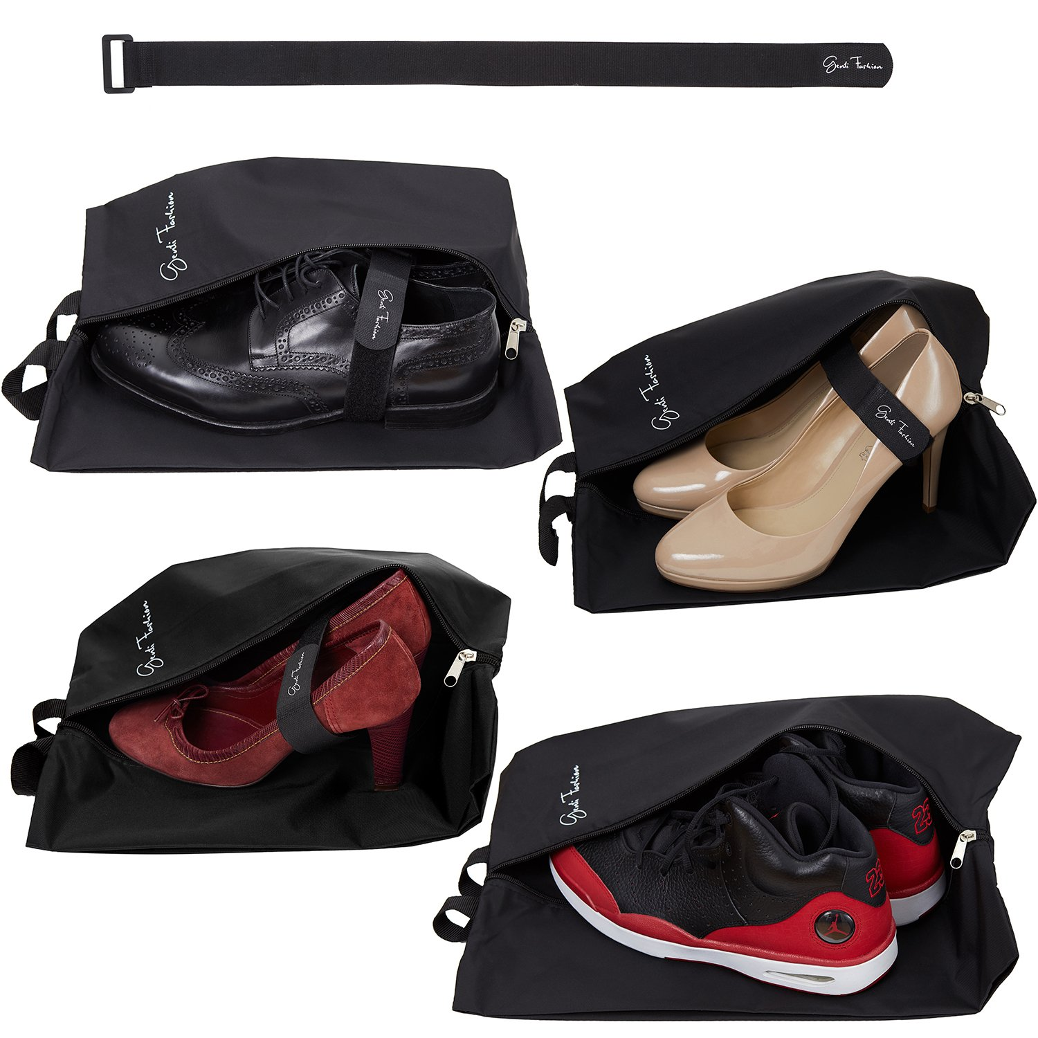 Travel Shoe Bags for Men & Women - Set of 4 Waterproof Nylon Pouches with Zipper + Fastening Strap Accessory by Genti Fashion (Mixed, Black)