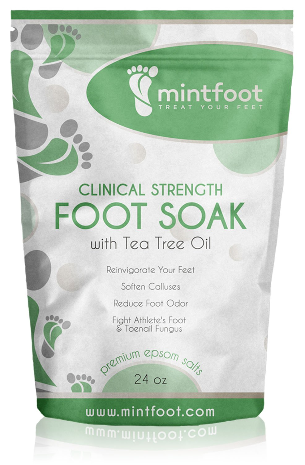 Mintfoot 24oz Clinical Strength Foot Soak with Tea Tree Oil & Epsom Salts - Fights Athlete's Foot & Toenail Fungus - Reinvigorate Your Feet