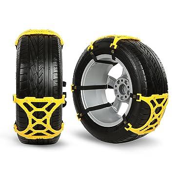 Cadena de nieve, Wrcibo Canales automáticos universales Cadenas antideslizantes Resistente para neumáticos SUV, camión, etc - Amarillo: Amazon.es: Coche y ...