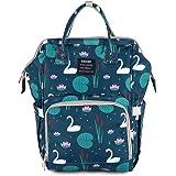 Bembika Diaper Bag Backpack for Mom Dad,Travel Rucksack Casual Daypack Maternity Nappy Bag Organizer Nursing Bottle Bag Fashion Mummy Bag for Multi-Function (Lotus Pond)