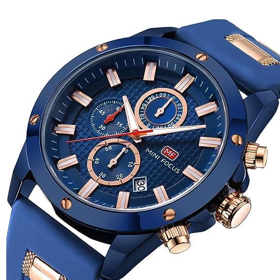 Relojes Hombres Reloj Deportivo Cronógrafo Moda Reloj de Pulsera de Cuarzo Resistente al Agua con Correa