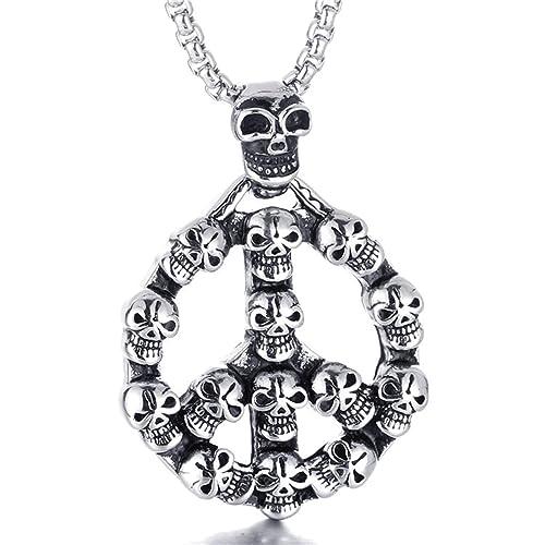 Beydodo Stainless Steel Necklace for Men Skull Mens