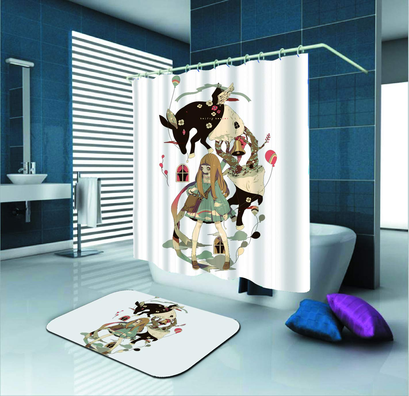 SARA NELL Shower Curtain Goth Gotik Gothic Women Girl Animal Waterproof Polyester Fabric Shower Curtain (72'' X 72'') Set 12 Hooks Bath Mats Rugs (23.6'' X 15.7'') Bathroom-Set Of 2