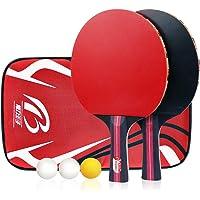 Calmare Juego de Tenis de Mesa, Pack de 2 paletas Premium, el Entrenamiento/Kit de Raqueta recreativa, Paquete de Accesorios Funda portátil Bolsa