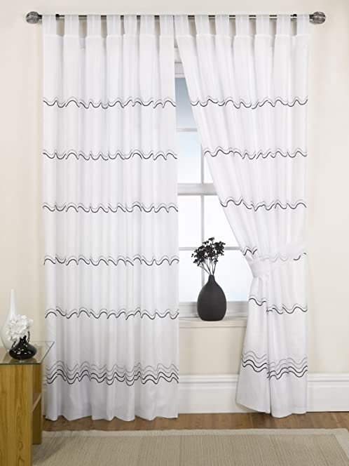 White Black Tab Top Curtains Lined Voile Calypso 59 x 90