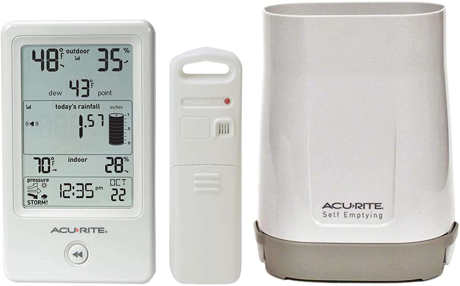 AcuRite Rain Gauge with Indoor/Outdoor Temperature - Digital LCD - Weather Station100 ft - Temperature, Rainfall, Humidity, Atmospheric Pressure - Desktop, Wall Mountable