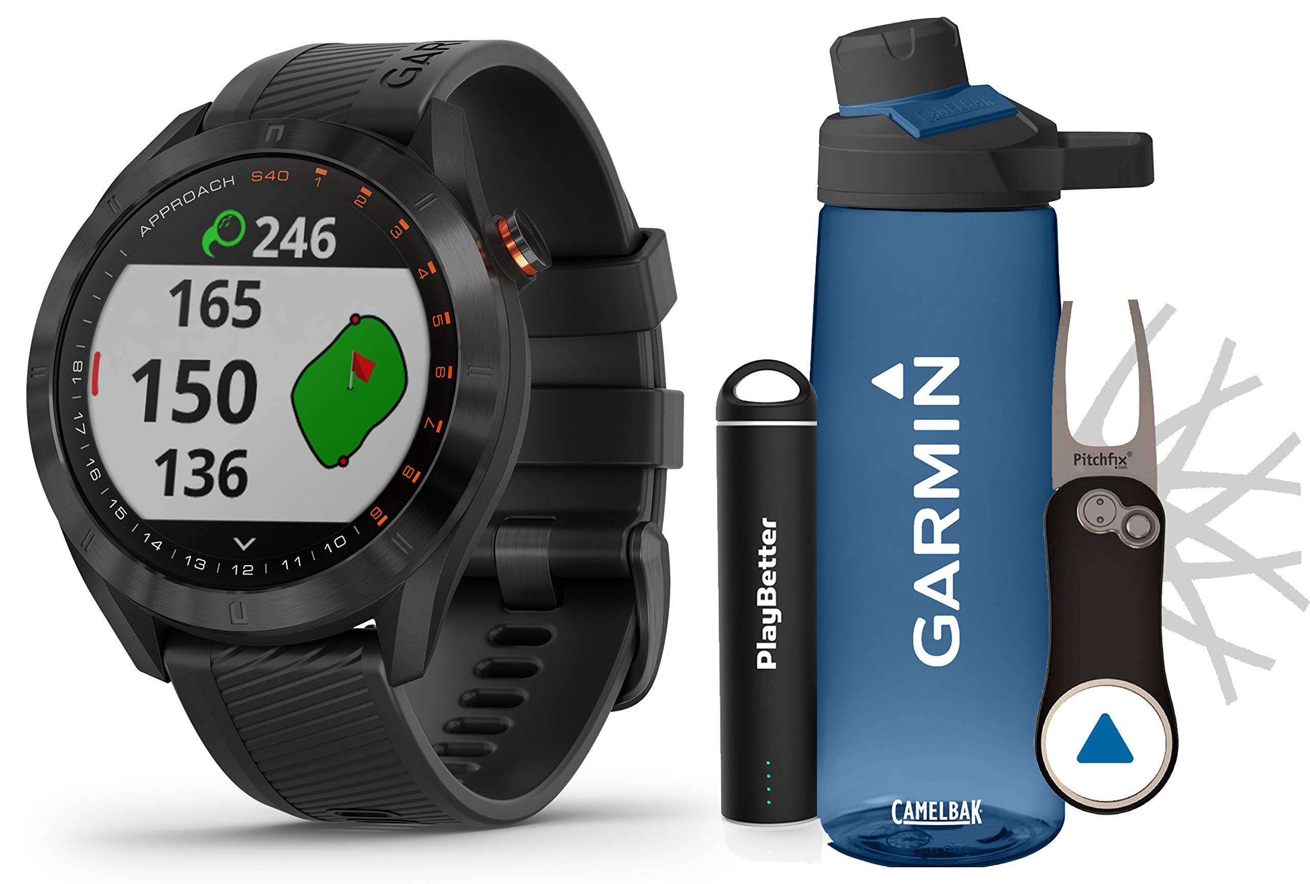 Garmin Approach S40 (Black) Golf GPS Smartwatch Premium Gift Set Bundle   +HD Screen Protectors, Garmin/PlayBetter Premium Water Bottle, Pitchfix Divot Tool & Portable Charger   41,000+ Courses