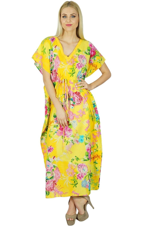 Bimba Frauen Kurze Cotton Kaftan mit Kimono-Ärmeln Gelb Kaftan Nachtwäsche Strand Coverup