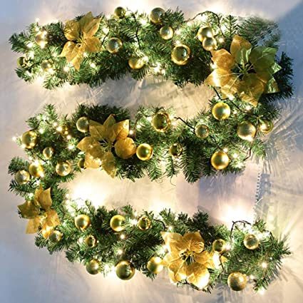 Zhongye 9ft Pre Lit Christmas Garland Illuminated Led Light Flower Ball Decoration Pine Xmas Festive Wreath Stairs Fireplaces By 3 Aa Batteries Not