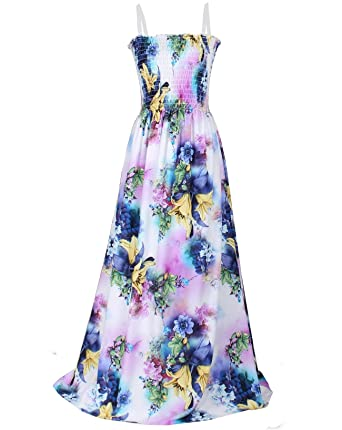 2a543f714a6 Women Floral Plus Size Maxi Dress Casual Long Sexy Summer Hawaiian Boho  Sundress (1X(