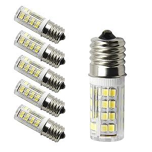 E17 LED T7 T8 Intermediate Base LED Appliance Bulb T8 T7 Lightbulb Dimmable 110 volt - 130v Pack of 2 Microwave Oven Light Bulbs(Daylight 5 Pieces)