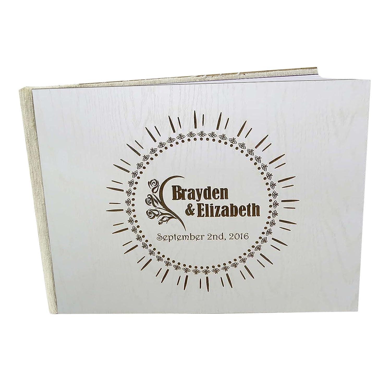 木製Engraved Bride & GroomアドバイスGuestbook Personalized素朴な結婚式ゲストブック – 50ページ Large - 9 x 12 Inches GB-11-B Large - 9 x 12 Inches  B01EY9I8EM