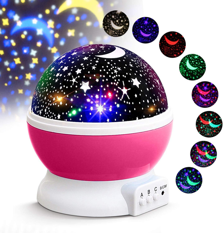 Halloween L/ámpara Proyector Infantil de Estrellas con 360/° Rotaci/ón y 7 Modos Iluminaci/ón Luz Noche para Habitaci/ón Beb/é D/ía de los Reyes Navidad KKTICK Lampara Proyector
