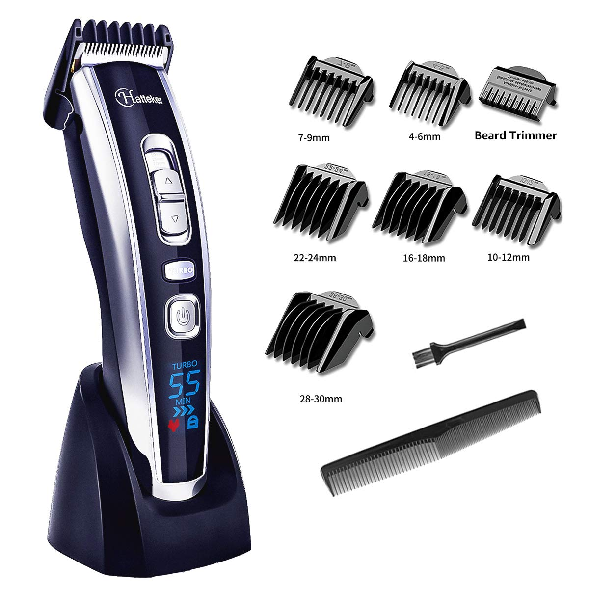Hair Clippers for Men, Beard Trimmer Cordless Hair Trimmer Electric Haircut Kit Ceramic Blade Rechargeable LED Display Trimmer for Men