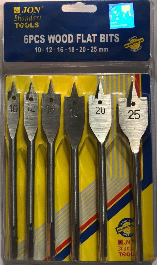 Jon Bhandari Die Steel Flat Drill Bit Set For Wood (10 mm, 12mm, 16mm, 18mm, 20mm, 25mm)