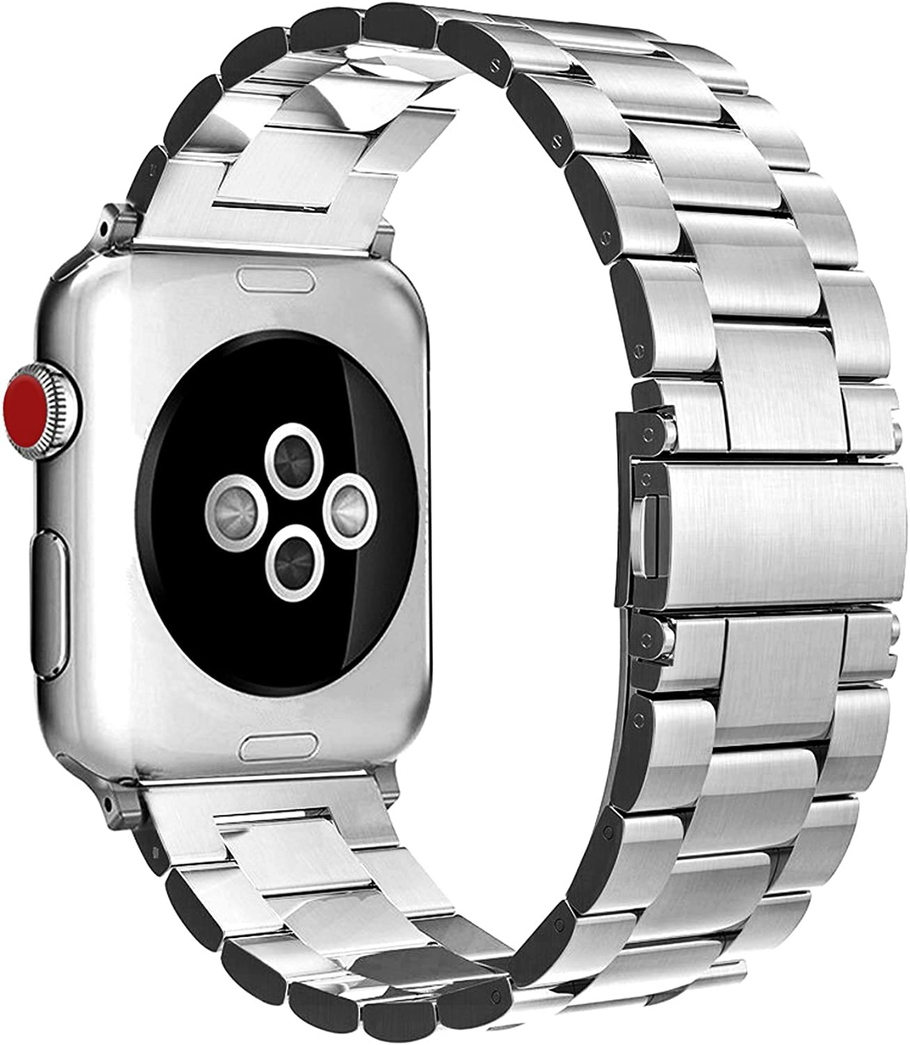 Fintie Band Compatible with Apple Watch 44mm 42mm Series 6/5/4/3/2/1/SE, Premium Stainless Steel Metal Replacement Wrist Strap Bracelet Compatible with All Versions 44mm 42mm Apple Watch, Silver