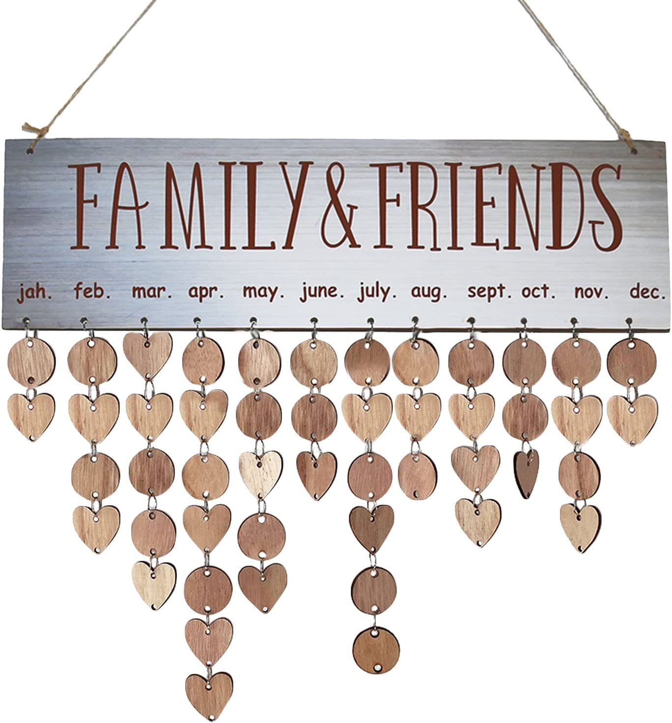 Wooden Calendar Board Family Special Dates Sign Birthday Mark Hanging Decor  #UK