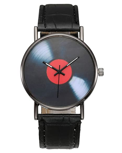 JSDDE Uhren,Vintage Schallplatte Muster Armbanduhr Mode Zeitlos ...