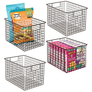 """mDesign Farmhouse Decor Metal Wire Food Storage Organizer, Bin Basket with Handles for Kitchen Cabinets, Pantry, Bathroom, Laundry Room, Closets, Garage - 12"""" x 9"""" x 8"""" - 4 Pack - Bronze"""