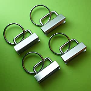 25 Sets - Key Fob Hardware with Split Ring - 1.25 Inch Wide