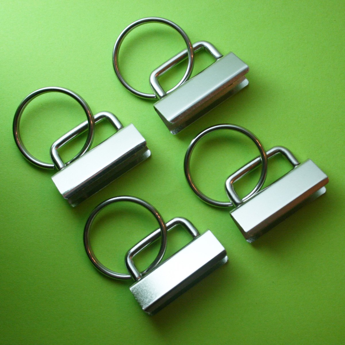 100 Sets - Key Fob Hardware with Split Ring - 1.25 Inch Wide