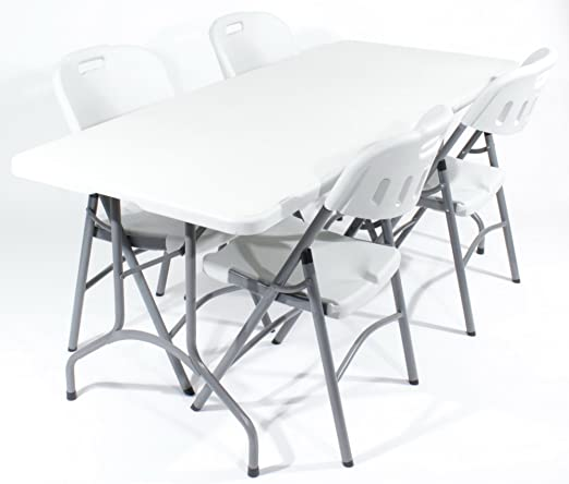 Royal juego de comedor para 4 182,88 cm mesa plegable en blanco y gris y