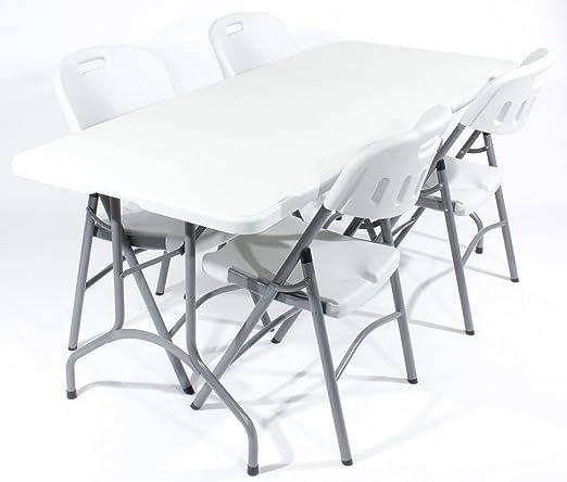 Royal juego de comedor para 4 182,88 cm mesa plegable en blanco y ...