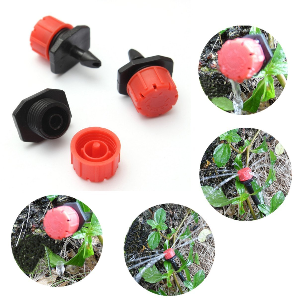 100pcs Plastic Adjustable Emitter Dripper Micro Drip Irrigation Sprinklers Watering System Md trade
