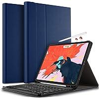 IVSO Tastatur Hülle für Apple iPad Pro 12.9 2018, [QWERTZ Deutsches], Ultradünn Ständer Schutzhülle mit magnetisch abnehmbar Wireless Tastatur für Apple iPad Pro 12.9 Zoll 2018, Blau, Blau