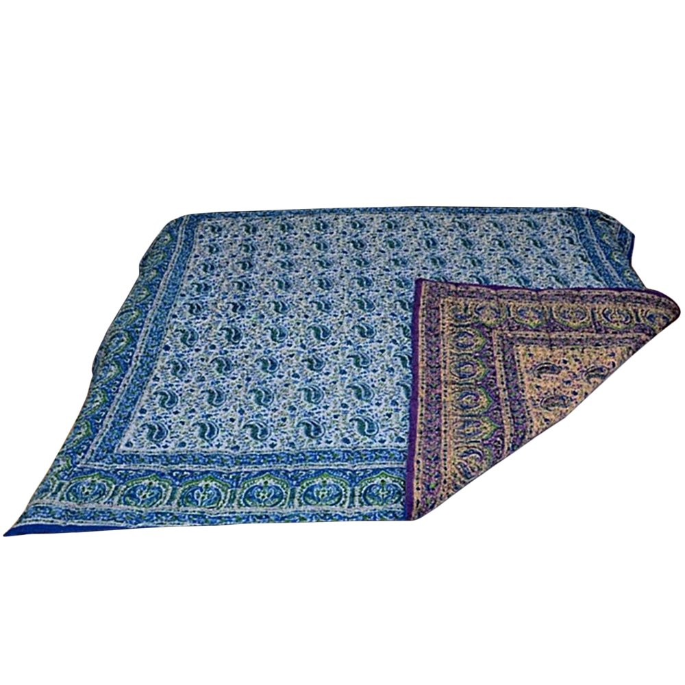Indian Bohemian Ethnic Cotton Paisley Block Print Reversible Bedspread Blanket QUILT2